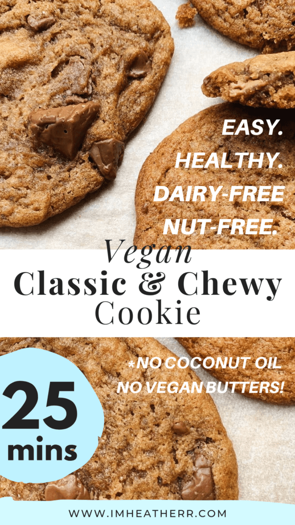 Chocolate Chip Cookies that are Vegan. Chewy, Crispy, Thin, and contain no coconut oils, no nuts, nor vegan butter! A recipe by Heather of imheatherr.